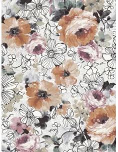 Килим Argentum с големи цветя в бял и керемиден цвят-1