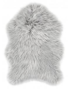 Еко кожа килим с дълъг косъм в сив цвят-1