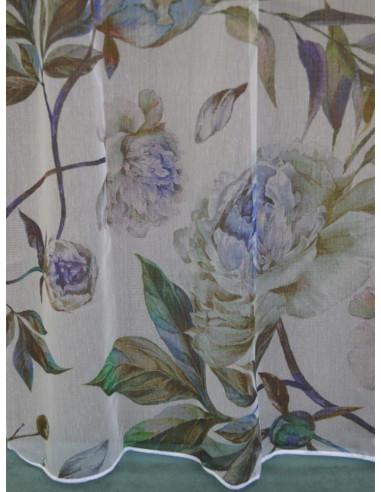 Тънка материя на цветя в сини нюанси-1