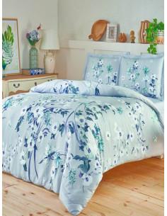 Двоен спален комплект TAC Saten Emili в син цвят-1
