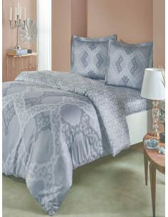 Двоен спален комплект TAC Saten Corette в сиво лилав цвят-1