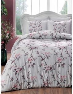 Семеен спален комплект от сатен TAC Lotte на нежни цветя-1