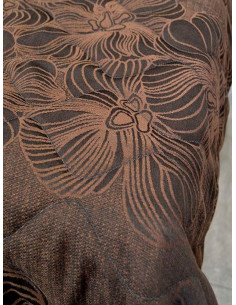 Тъмно кафяво шалте на цветя-1