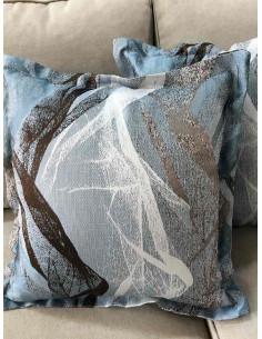 Комплект възглавнички в сини, бели и кафяви шарки-1