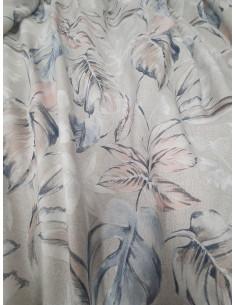 Памучна материя за плътна завеса с пъстри листа в син и светло розов цвят-1