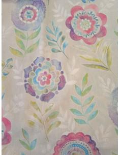 Плътна завеса с принт на ярки цветя-1