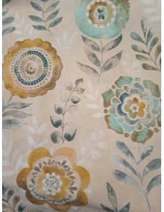 Мека плътна материя на сини и жълти цветя-1