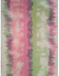 Плътна материя с райета в розов и светло зелен цвят-1