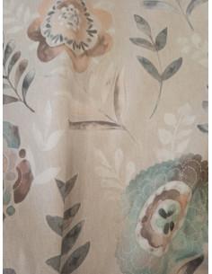 Плътен плат за завеса с принт на големи цветя и листа-1