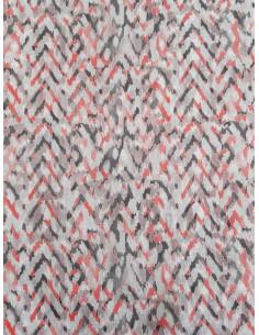 Плътен текстил с принт на зиг заг в червен и тъмно сив цвят-1