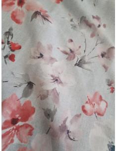 Плат за завеса с кичести цветя в прасковен и пепел от рози цвят-1
