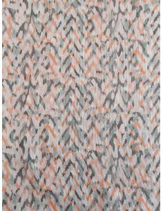 Плътна материя с принт на зиг заг в тюркоазен и оранжев цвят-1