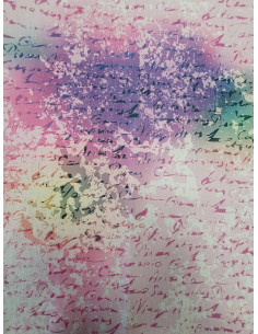 Принт с надписи в лилав и жълт цвят-1
