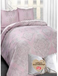 Единичен спален комплект TAC Mirabel Ranforce в розово + подарък-1