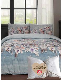 Единичен спален комплект TAC Liza Ranforce на цветя + подарък-1