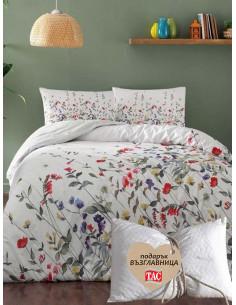 Спален комплект TAC Cherry Ranforce на пъстри цветчета + подарък-1