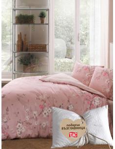 Единичен спален комплект TAC Ranforce Julian в розово + подарък-1