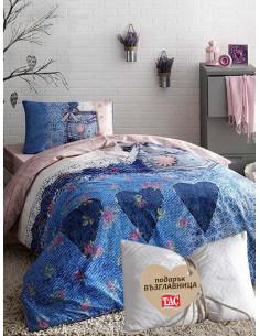 Единичен спален комплект TAC Ranforce Lacy + подарък-1