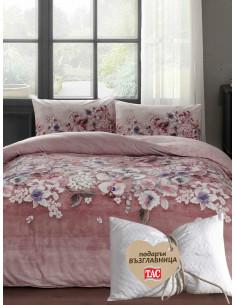 Двоен спален комплект TAC Ranforce Liza в розово + подарък-1