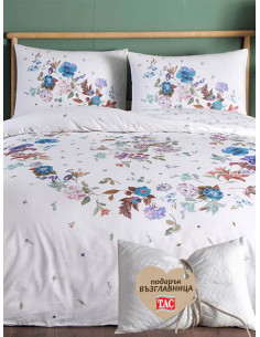 Двоен спален комплект TAC Ranforce Sander на сини цветя + подарък-1