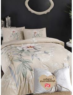 Двоен спален комплект TAC Ranforce Frida с цветя + подарък-1