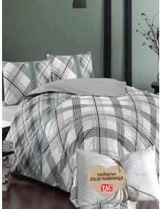 Двоен спален комплект TAC Ranforce Floyd в сив цвят + подарък-1
