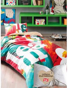 Единичен спален комплект Tac Ranforce Pop Art + подарък-1