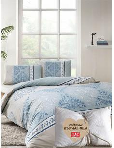 Единичен спален комплект TAC Ranforce Talia Mint + подарък-1