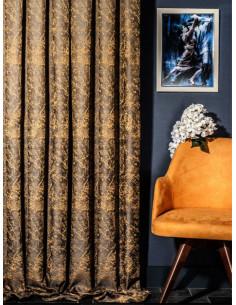 Жакардова плътна завеса в жълто, бежова  и синьо сива гама-1