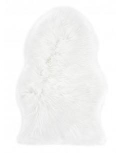 Еко кожа килим с дълъг косъм в бял цвят-1