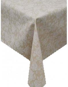 Непромокаема покривка за маса в бежов цвят на цветя-1