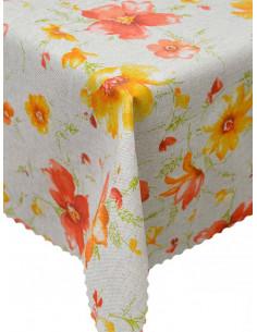 Непромокаема покривка за маса с оранжеви и цълти цветя-1