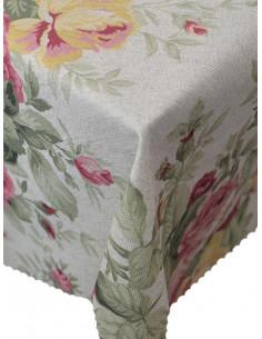 Непромокаема покривка за маса с десен на цветя-1