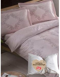 Двоен спален комплект TAC Saten Justine Pembe + подарък-1