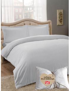 Двоен спален комплект TAC Saten Basic в светло сиво + подарък-1