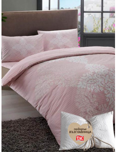 Двоен спален комплект TAC Ranforce Janna в розов цвят + подарък-1