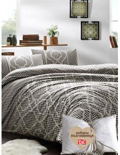Двоен спален комплект TAC Ranforce Evana в цвят кафе + подарък-1