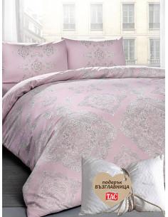 Двоен спален комплект TAC Ranforce Mirabel в розово + подарък-1
