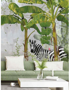 Фототапет ADAWALL AMAZON POSTER с фламинго и зебра-1