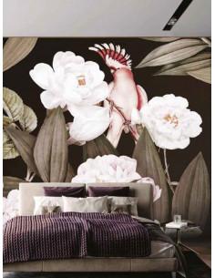 Фототапет AMAZON POSTER с големи цветя и розов папагал-1