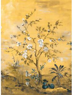 Фототапет в жълто с дръвчета на бели цветове-2