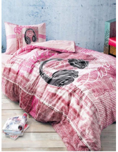 Единичен спален комлект TAC Listen в розово-1