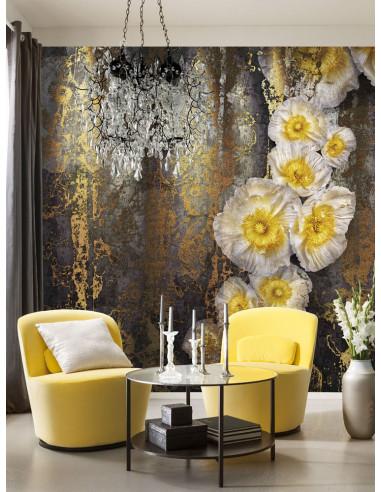 3D фототапет в златисто и черно на големи цветя-1