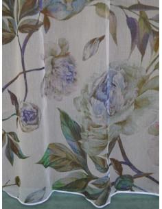 Готово тънко перде на цветя в сини нюанси 6x2.50м.-1
