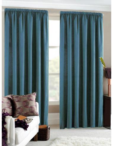 Готова мека плътна завеса в цвят тюркоаз 2.50x2.50м.-1