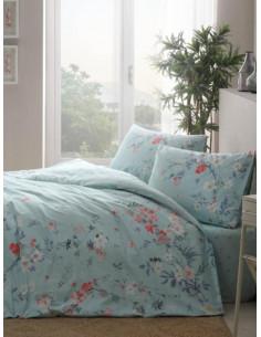 Единичен памучен спален комплект TAC Ranforce Julian в синьо-1