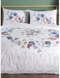Двоен спален комплект TAC Ranforce Sander на сини цветя-1