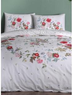 Двоен спален комплект TAC Ranforce Sander на червени цветя-1