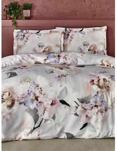 Двоен спален комплект TAC Saten Evander на цветя-1