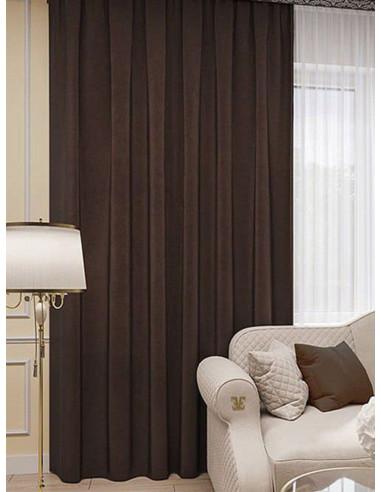 Готова плътна завеса в тъмно кафяв цвят 2.50x2.50м.-1